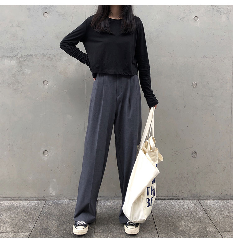 O1CN01ezOHwE1FRFqdTM8Wr !!470100483 - S-L 2 colors Casual Straight Suit Pants Women High Waist Pant Office Lady wide leg Long Trousers womens (X580)