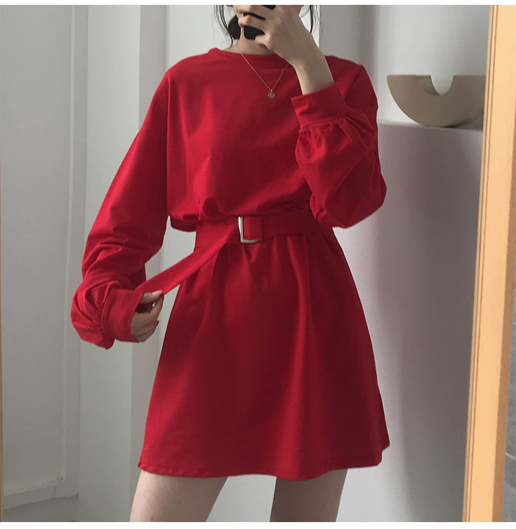 7korean style long sleeve dress with belt for girls,It's a good choice.