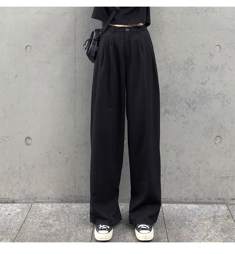 O1CN01zl4FPI1FRFqchiYJP !!470100483 - S-L 2 colors Casual Straight Suit Pants Women High Waist Pant Office Lady wide leg Long Trousers womens (X580)