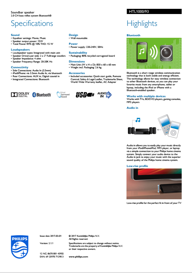 134 42] Philips Wireless Bluetooth Virtual 5 1 Channel Home