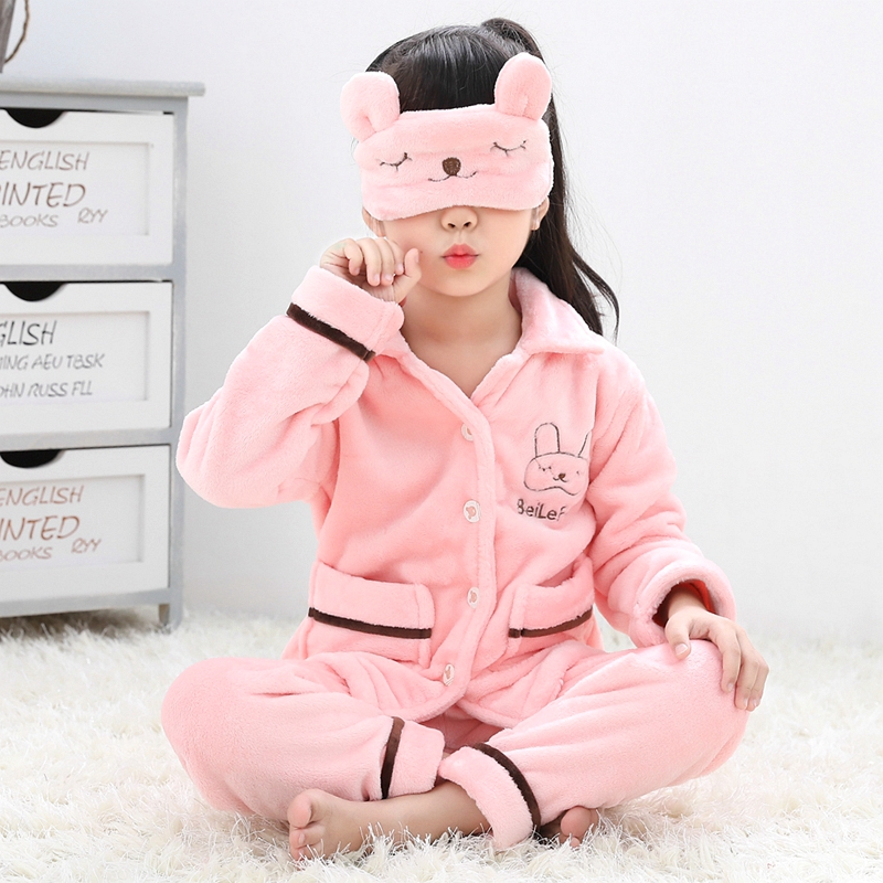 16e96d362708 USD 29.56  Children s pajamas autumn and winter thickening coral ...