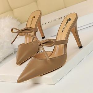 X-21354# 复古风包头拖高跟浅口尖头镂空一字带小蝴蝶结日常女拖鞋