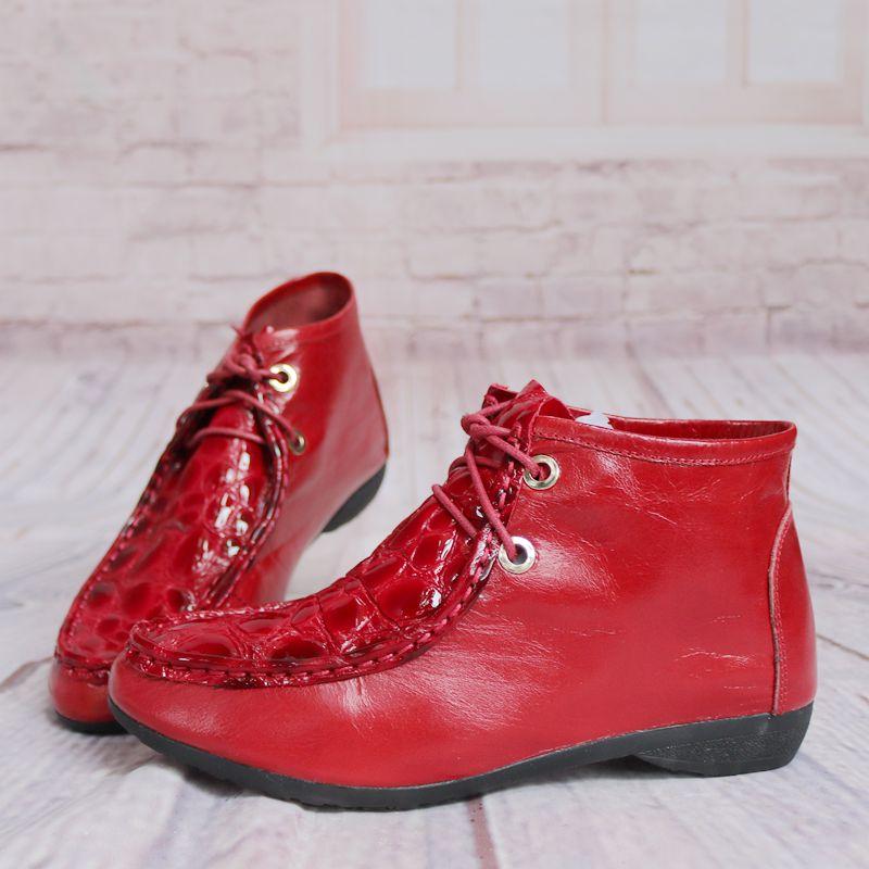 圆头低跟系带软鞋子女靴子骑士里压花女牛皮短靴猪皮靴Y24-3