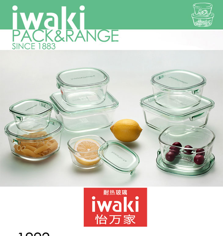 日本怡万家耐热玻璃保鲜容器保鲜盒大容量烤箱微波炉碗散装详细照片