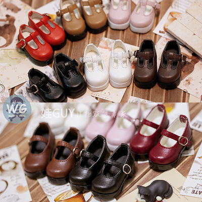 taobao agent Baby GUY bjd6 points baby shoes Via imda3.0 card meat myou thick heel high heels gem Dido buckle leather shoes