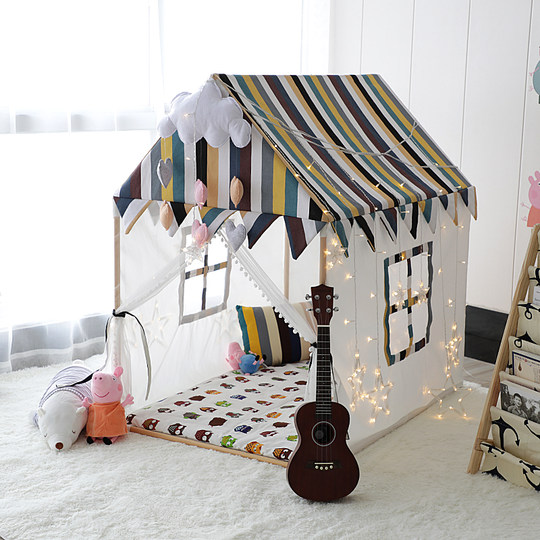 Net red ins solid wood children's tent princess castle play house male baby indoor big house baby toy bed