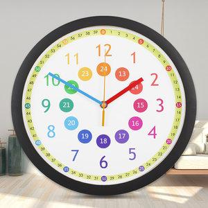 卡通挂钟钟表石英静音学习家用客厅教学数数儿童识字卧室早教时钟