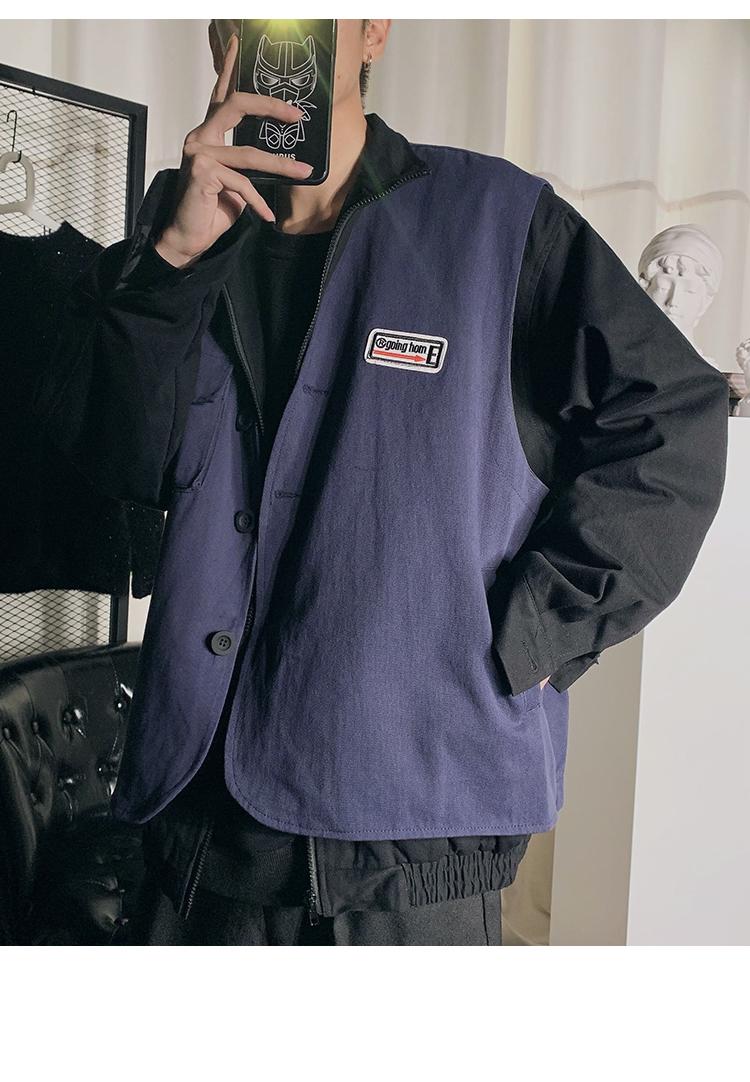 暗黑风 夹克 20春装新款宽松大码假两件大码夹克外套 FA07 P115
