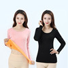 Thermal underwear female winter plus velvet thickening tight single piece autumn clothing low collar shirt student close-fitting long sleeves