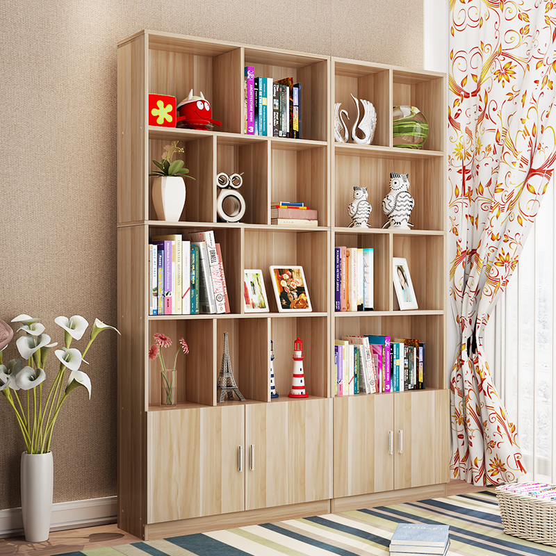 Bookshelf Simple Modern Student Bookcase With Door Free Combination Floor Cabinet Table Small Rack