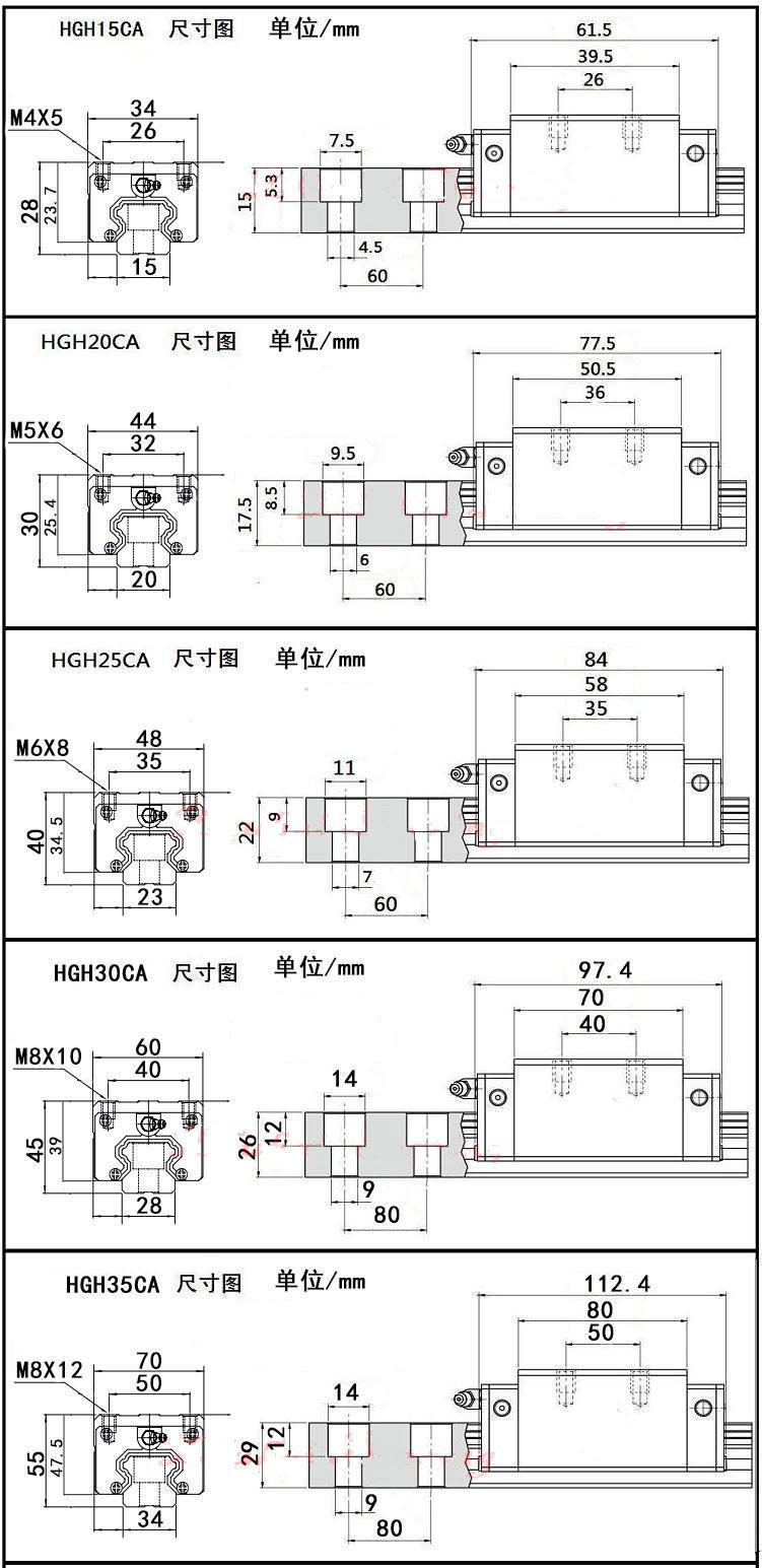 国产精密直线导轨滑块HGH/HGW15/20/25/30/35/45/55CA/CC线轨滑轨 (图8)
