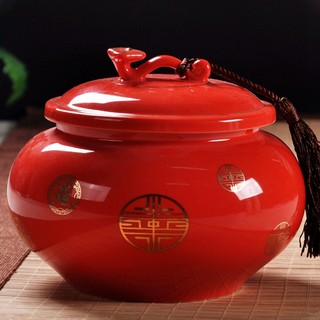 Red wishful ceramic tea cans large half a catty black tea moisture seal can Pu'er tea pot green tea storage tank