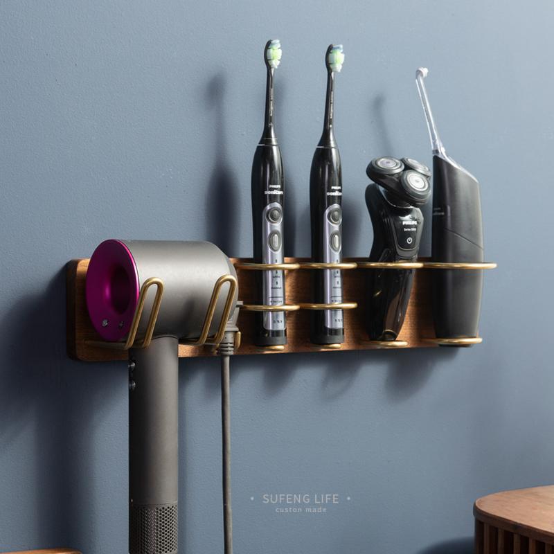適用戴森吹風機置物架剃須刀架衛生間浴室收納架免打孔多功能壁掛