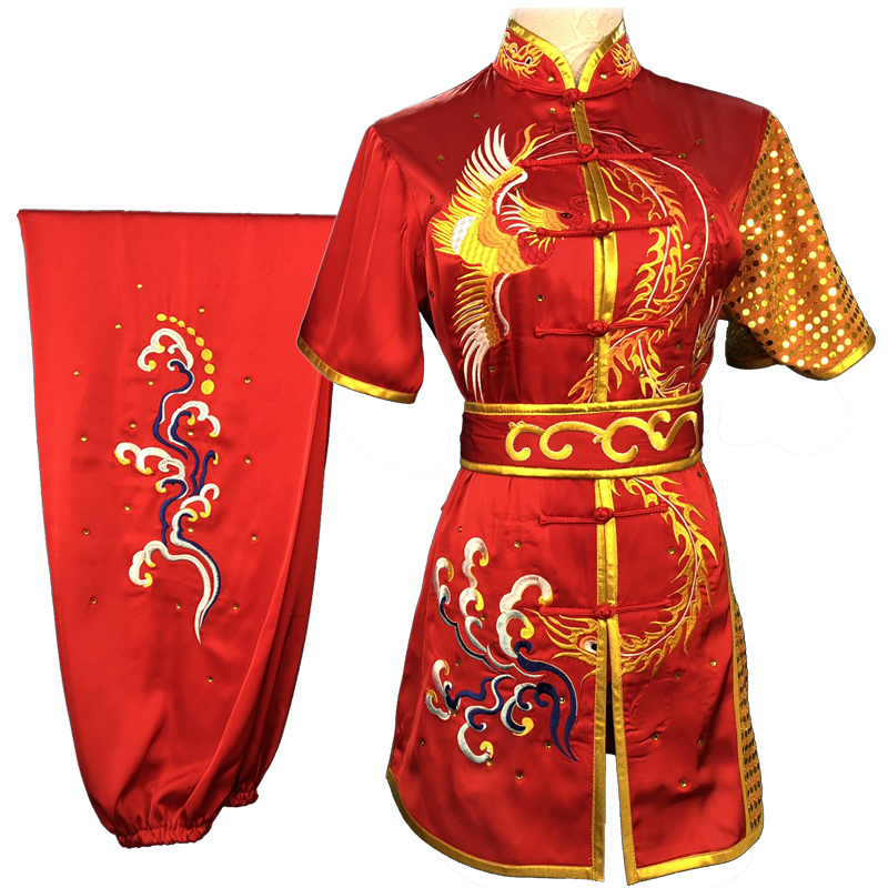 Chinese Martial Arts Clothes Kungfu Clothe  Tai Chi  Children's Wushu Competition Performing Colorful Clothes and Embroidery f Female
