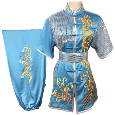 Chinese Martial Arts Clothes Kungfu Clothe  Tai Chi Wushu Competition Performing Colored Clothes, Rose Red Embroidery,