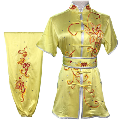 Chinese Martial Arts Clothes Kungfu Clothe  Tai Chi Wushu Competition Performing Colored Taiji Clothes and Real Silk Customized