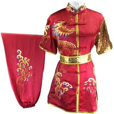 Chinese Martial Arts Clothes Kungfu Clothe  Tai Chi  Children's Wushu Competition Performing Colorful Clothes, Green Embroidery Dragon