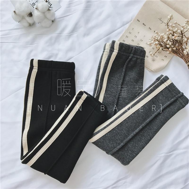 2018冬装新款儿童韩国中性男童女童装百搭边条加绒厚打底裤长裤子
