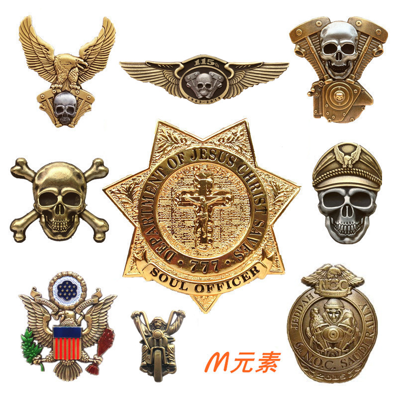 美国海盗战警徽章骷髅机车帽徽胸牌哈雷大号纪念章胸标摩托老鹰