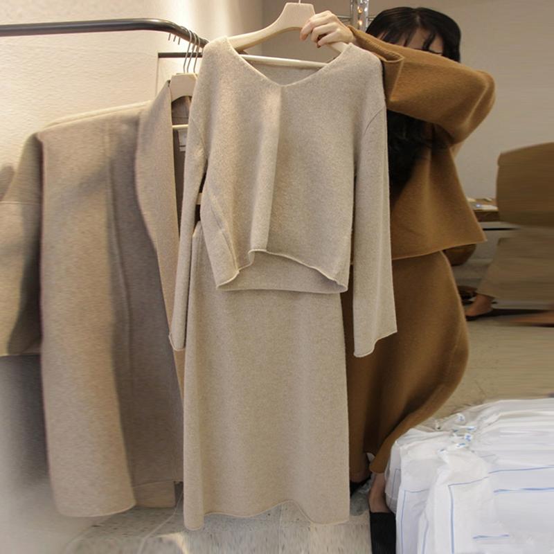 套装毛衣女潮秋装2019新款韩版V领针织衫件套毛线裙两半身秋冬季