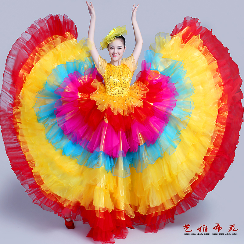 Chinese Folk Dance Costumes women sequins national dance chorus dress opening dance big skirt stage performance dress
