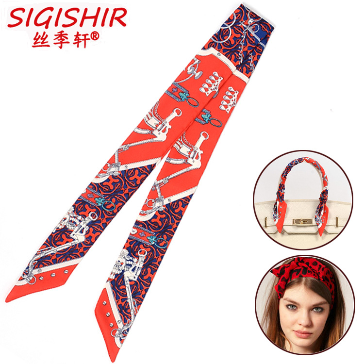 2 scarves lady/'s twilly ribbon handle tie stopper chain scarf S702 S704 S706