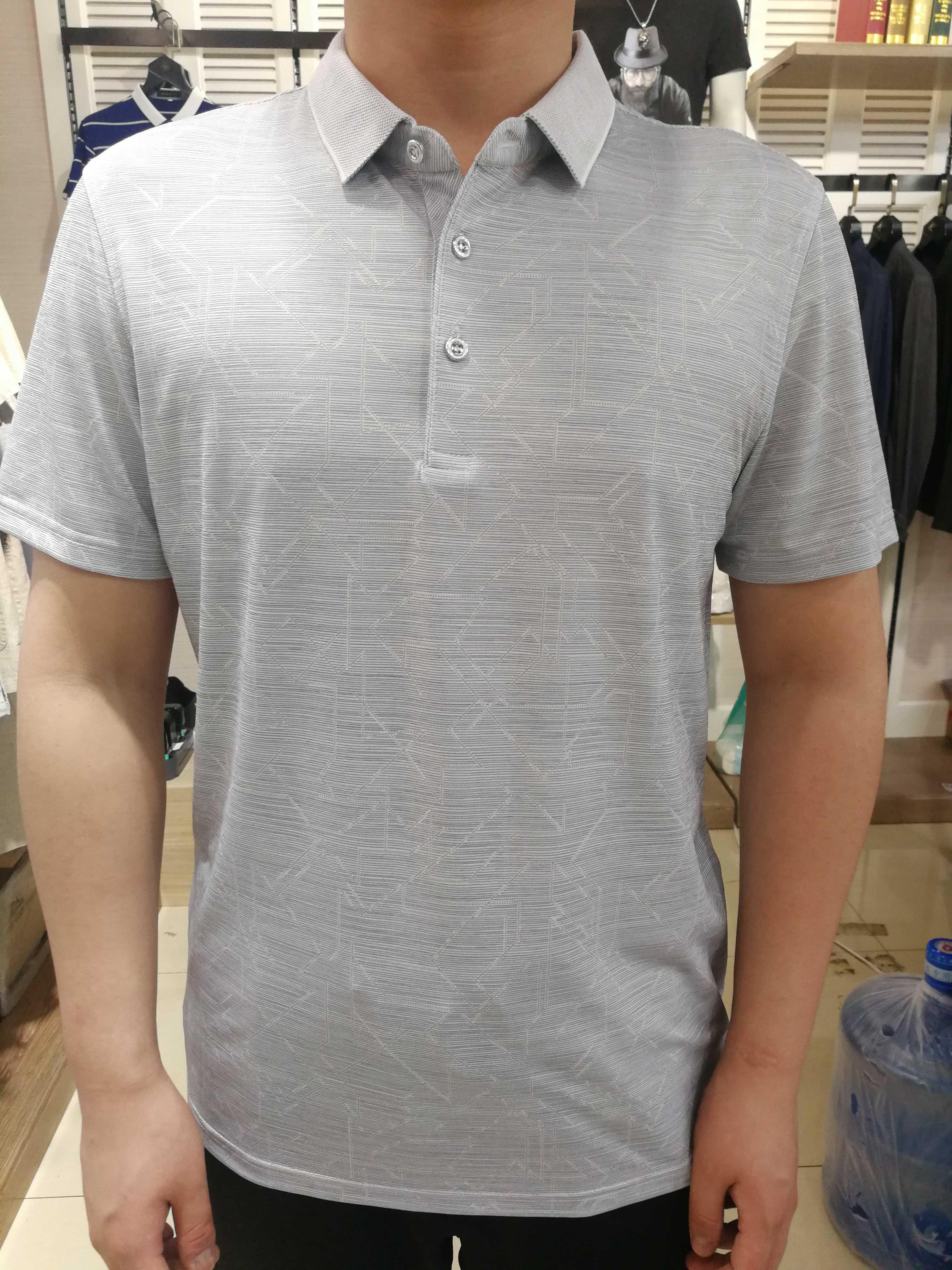 夏季新款翻领短袖T恤豪威堡商务休闲男装中老年爸衣服滑溜溜面料