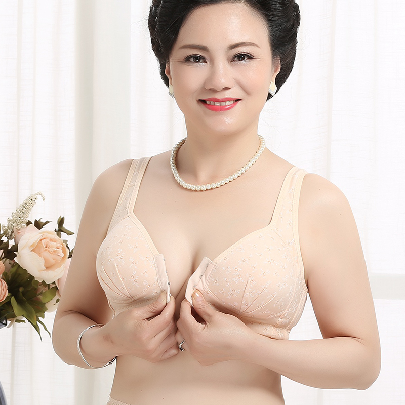 Middle-aged mother comfortable and soft without steel front buckle mother plus fat bra gathered underwear bra female