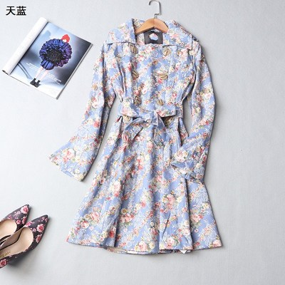 109147 Ibero-American 2017 new women's winter lapel double-breasted long-sleeved printed flower Slim trench coat