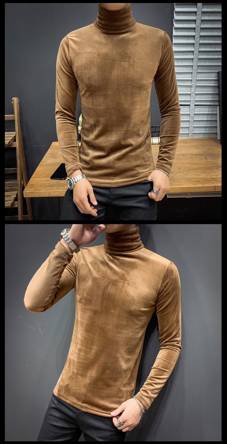 2019秋冬新款帅气时尚男士高领打底衫长袖T恤保暖金丝绒 AT26-P35