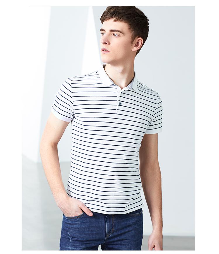Lexton nam ngắn tay áo polo 2018 mùa hè mới xu hướng đơn giản sọc ve áo ngắn tay T-Shirt áo phông có cổ