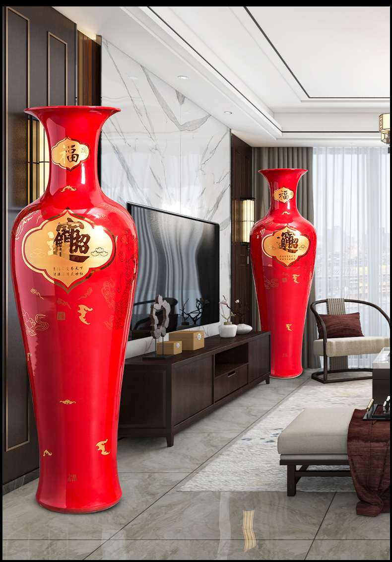Jingdezhen ceramics king villa home sitting room hotel adornment is placed a thriving business floor vase