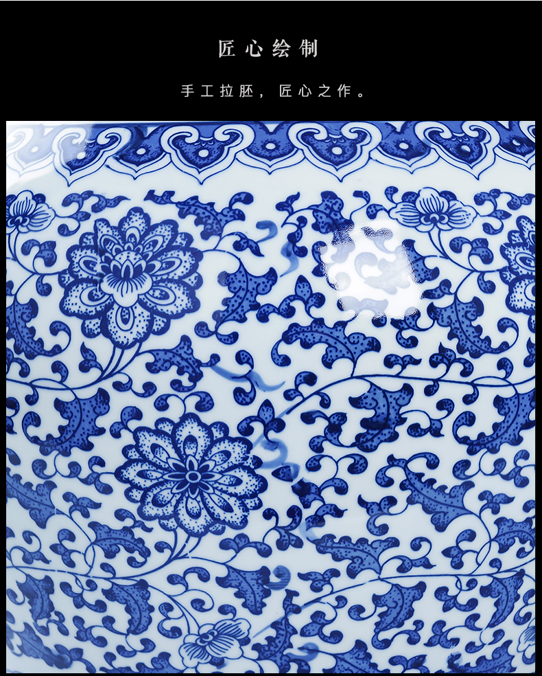 Jingdezhen porcelain ceramic large blue and white porcelain vase landed furnishing articles sitting room of Chinese style household flower adornment ornament