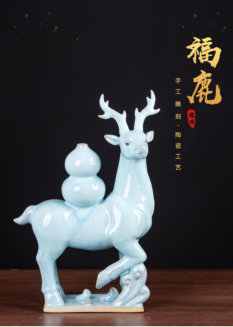 Jun porcelain borneol f deer ceramic daily gifts creative home furnishing articles of new Chinese style living room office accessory products