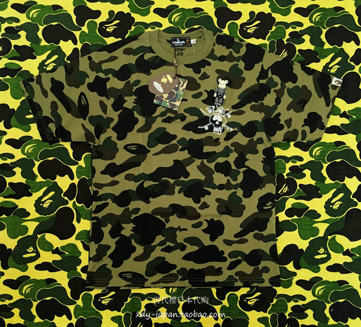 6c32ede5 Appreciation] BAPE x STUSSY joint 30 Anniversary Limited TEE green  camouflage Skull Head T-shirt