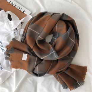 仿羊绒围巾长款百搭保暖焦糖色披肩