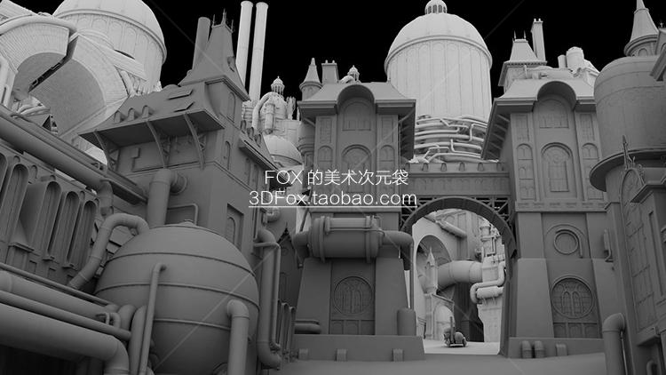 蒸汽朋克风格3D次时代PBR场景建筑模型 Unity UE4 素材