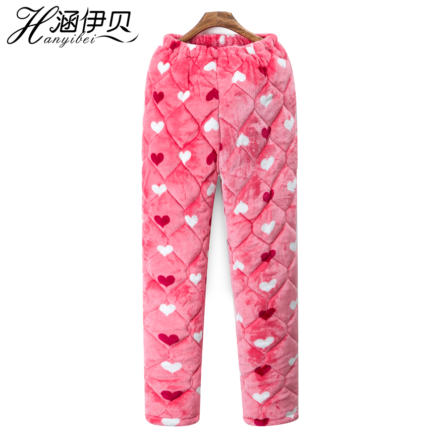 Ladies Winter Casual Home Pants Coral Velvet Three-layer Padded Pajamas Padded Pants Flannel Pajamas Women's Pants Winter