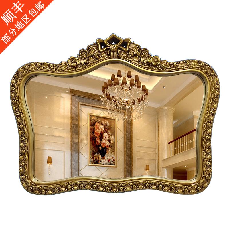卫生间欧式镜子壁挂镜子镜洗手间皇冠装饰镜防水梳妆浴室复古v镜子