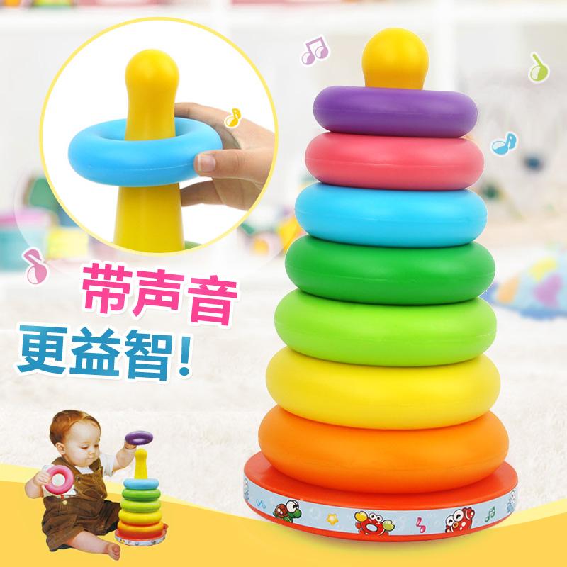七色彩虹塔叠叠乐不倒翁套圈环宝宝启蒙益智早教玩具音乐玩具