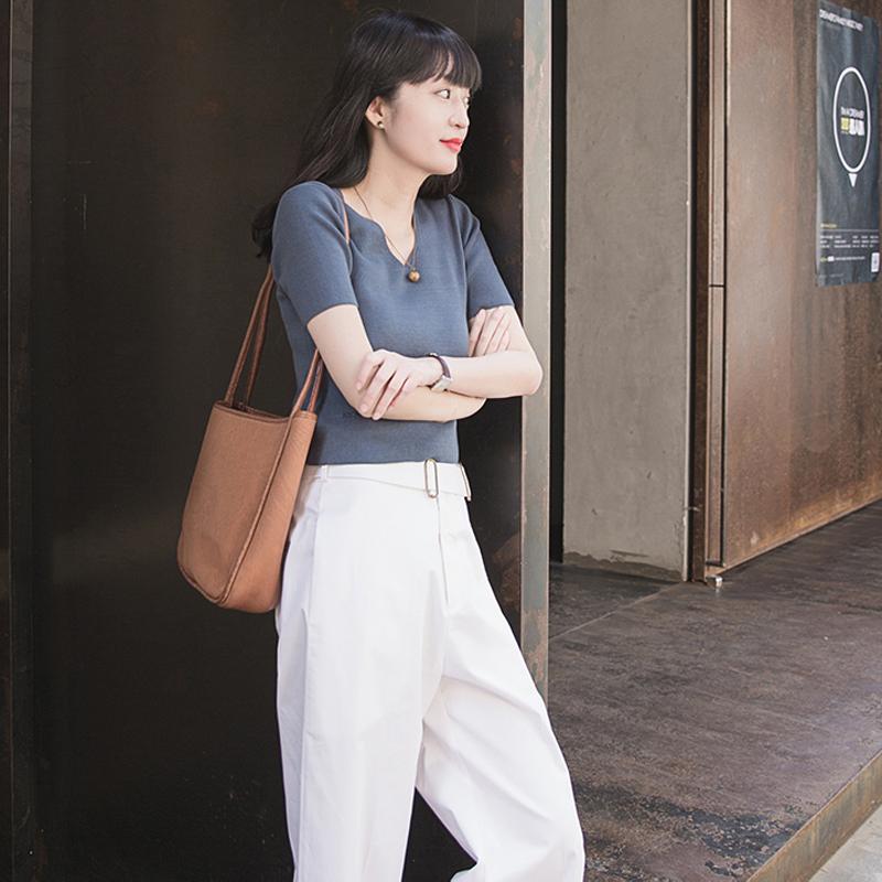 短款紧身t恤女夏小针织衫修身性感百搭打底衫露脐条纹短袖上衣女