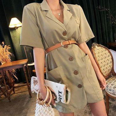 2020夏款韩国代购女装正品Lagirl翻驳领含腰带连衣裙