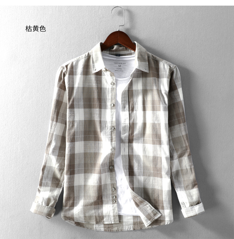 Autumn new men's casual large grid shirt collar cotton long-sleeved port wind young students color woven cotton shirt 45 Online shopping Bangladesh
