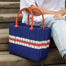 Plastic rattan like hand-made picnic basket ins portable goods net red fruit blue gift giving egg shopping basket