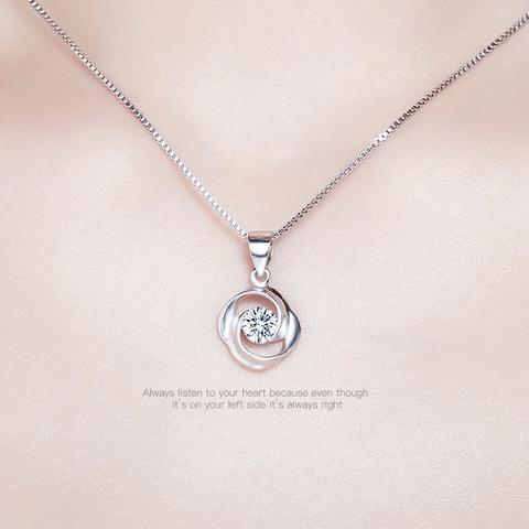 欧维希s925银项链女韩版配饰锁骨链镂空转运珠吊坠简约时尚银饰品