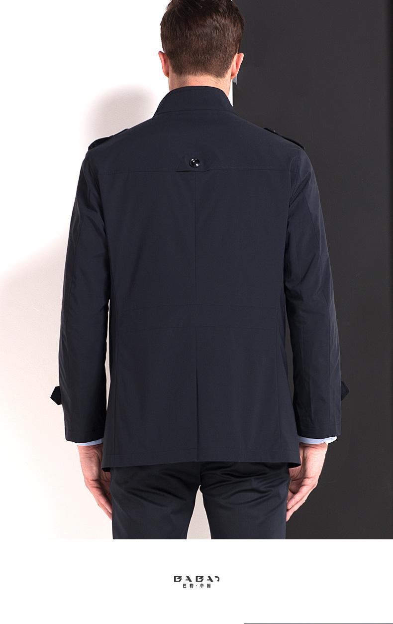 Của nam giới áo gió mùa xuân và mùa hè thanh niên kinh doanh màu rắn giản dị đứng cổ áo đơn ngực phần dài mỏng áo khoác nam mỏng