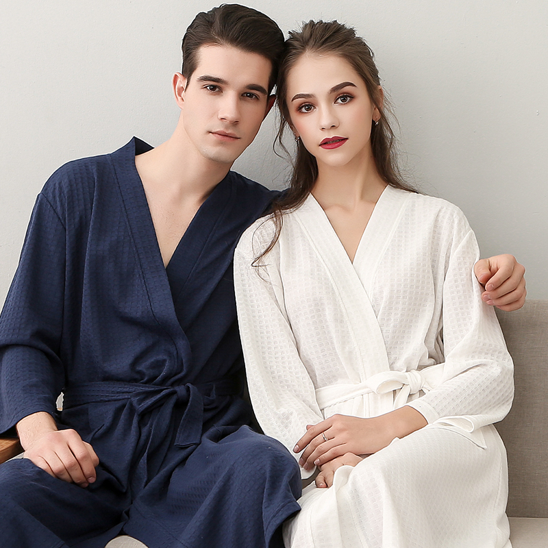 80cd0394ad Summer thin section Waffle bathrobe female summer absorbent quick-drying bathrobe  plus size robe couple