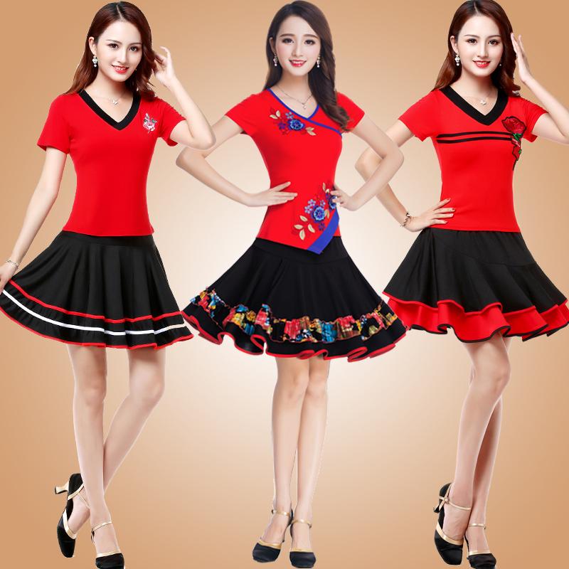 广场舞服装新款舞蹈套装夏季短袖短裙子跳套裙的衣服女杨丽萍v广场
