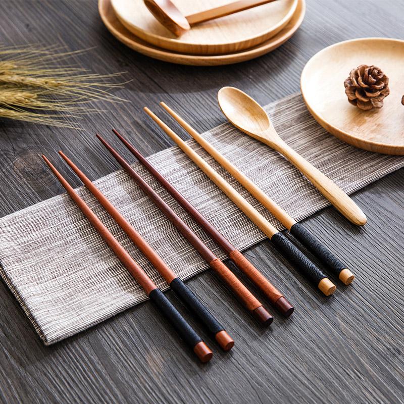 Домашние Домашние деревянные палочки для еды натуральные винтаж Домашняя посуда Китайские жареные длинные палочки для еды портативные суши с острым носом палочки для еды