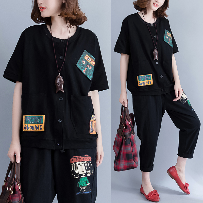 2019 Summer Real Shot L Women Cotton Applique Printed Cardigan Fat Mm Was Thin Loose Wild T-shirt